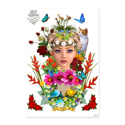 Poster - Lady spring - by T-shirt chic et choc - Poster 60 x 90 cm