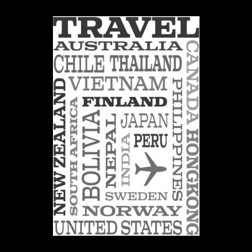 Travel Places Gray design - Juliste 60x90 cm
