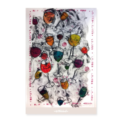 Wine series 1 - 60x90 cm by O.Fouchard - Poster 60 x 90 cm