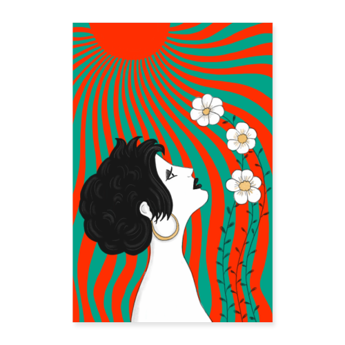 Frau mit Blumen in der Sonnen - Jugendstil Poster - Poster 60x90 cm