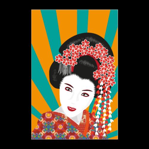Geisha - Bunte Pop Art - Poster 60x90 cm