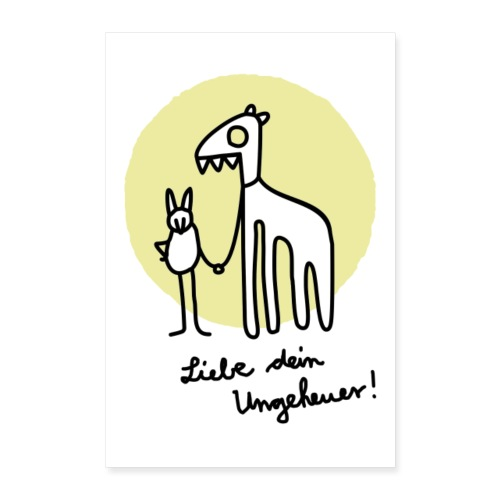 LIEBE DEIN UNGEHEUER kiwi Für Pärchen und Yogis - Poster 60x90 cm