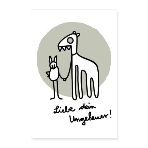 LIEBE DEIN UNGEHEUER grau Für Pärchen und Yogis - Poster 60x90 cm