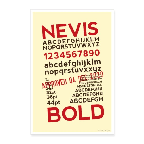 Nevis Bold Typography Poster - Poster 24 x 35 (60x90 cm)