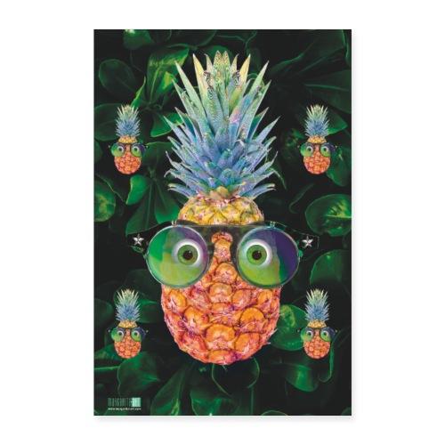 05 Ananas mit Sonnenbrille Poster Margarita Art - Poster 60x90 cm