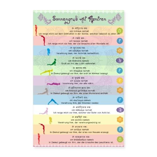 Yoga Sonnengruss mit Mantren Yogapraxis am Morgen - Poster 60x90 cm