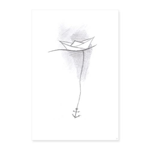Papierschiff Skizze - Poster 60x90 cm