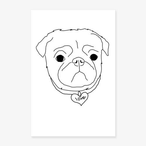 Pug Art   Mops Poster - Poster 60x90 cm