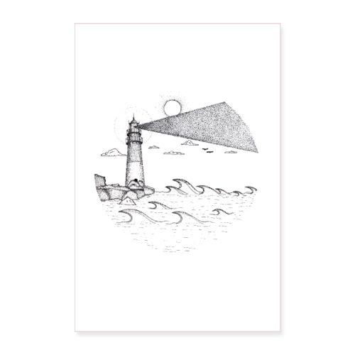Leuchtturm am Meer - Poster 60x90 cm