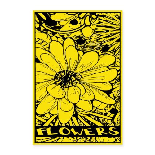 bloem geel zwart - Poster 60x90 cm