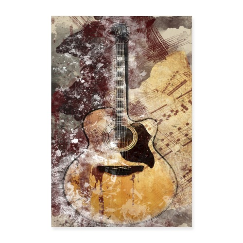Acoustic Guitar Art - Poster 60x90 cm