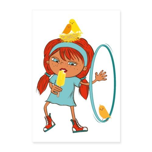 Happy Girl mit Eis, Vögeln und HulaHoop - Poster 60x90 cm