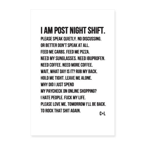 Night Shift Poem - Poster 60x90 cm
