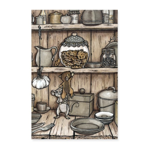 Mäuse und Keksglas - Poster 60x90 cm