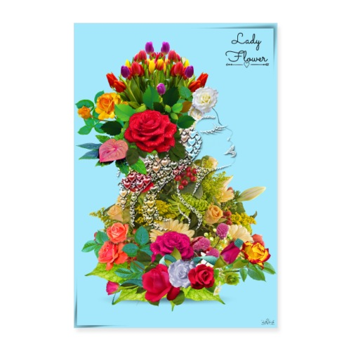 Poster - Lady flower in sky -by- T-shirtchicetchoc - Poster 60 x 90 cm