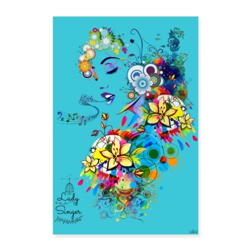 Poster - Lady singer Blue ocean - Poster 60 x 90 cm