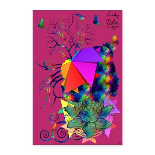 Poster - Lady color - Couleur vin rouge bourgogne - Poster 60 x 90 cm