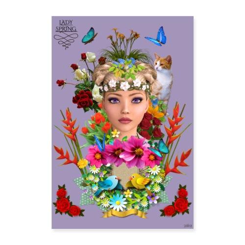 Poster - Lady spring - couleur orchidée - Poster 60 x 90 cm