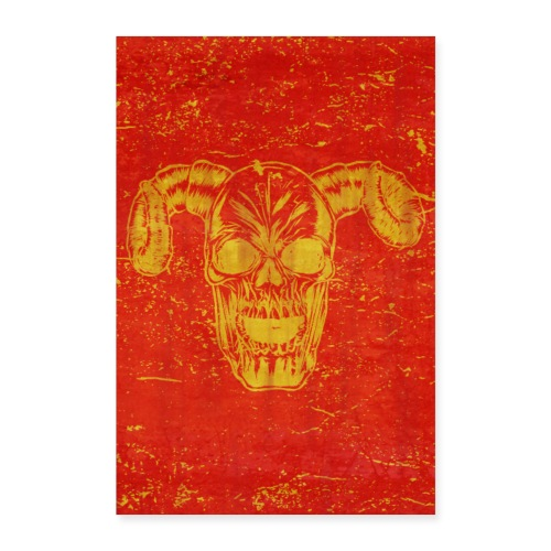 skull with horns poster design gift idea - Poster 60x90 cm