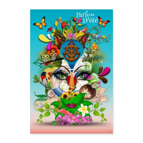 Affiche - Parfum d'été - couleur bleu céleste - Poster 60 x 90 cm