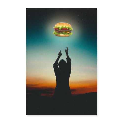 Hamburger in The Sky - Poster 60x90 cm