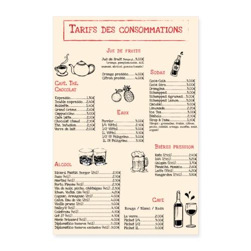 Tarif des consommations - Poster 24 x 35 (60x90 cm)