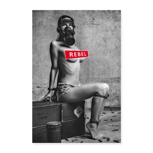 Sexy Coronarebellin mit Gasmaske - Rebel - Poster 60x90 cm