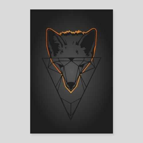 Fuchs Geometrie dunkel - Poster 60x90 cm