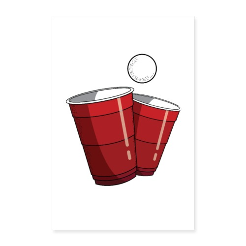 Beerpong Red Cups Poster - Poster 60x90 cm