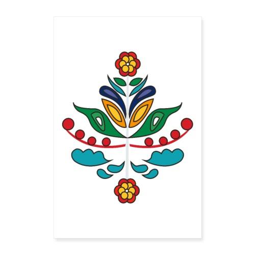 Kurbits blommor outline - Poster 60x90 cm