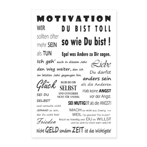 Motivation Spruch Typografie Sprüche Text Poster - Poster 60x90 cm