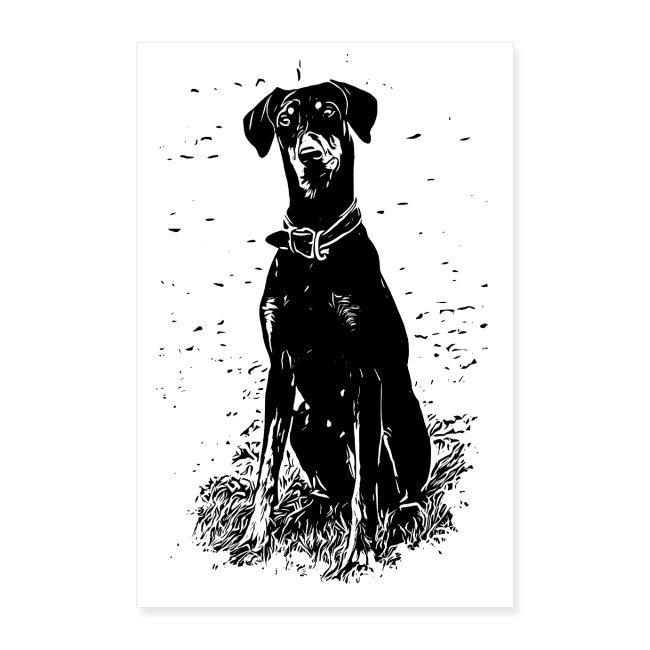 POSTER Dobermann / Doberman Design Hunde