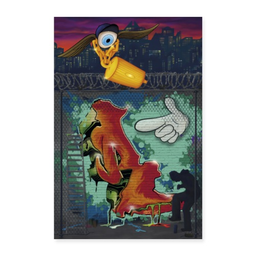 graffiti R poster - Poster 60x90 cm