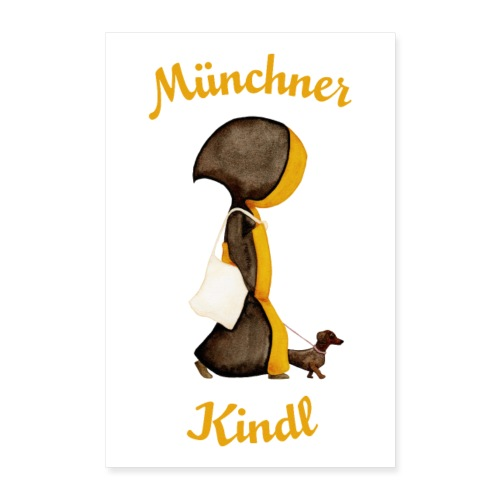 Poster Münchner Kindl mit Stofftasche und Dackel - Poster 60x90 cm