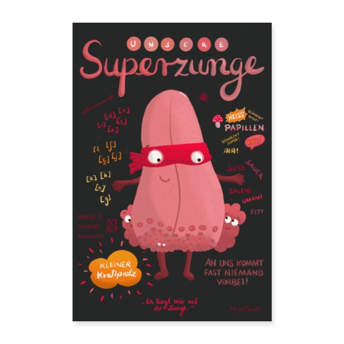 Superzunge *Anatomy Cartoon Art* - Poster 60x90 cm