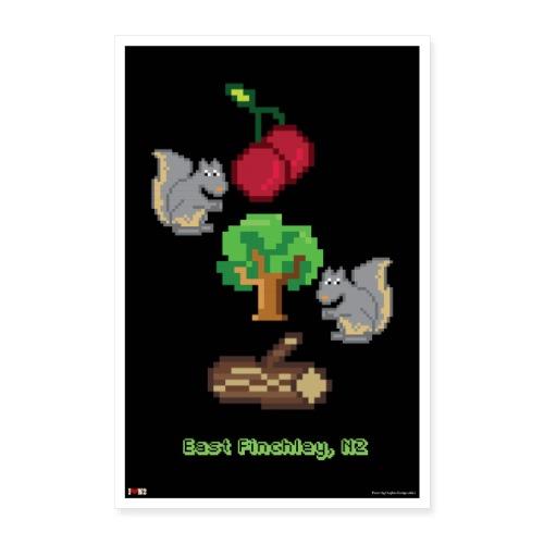 Cherry Tree Wood 8 Bit - Poster 24 x 35 (60x90 cm)