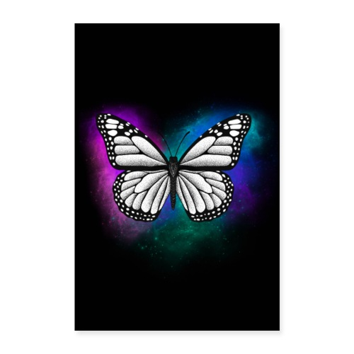 Butterfly dotwork colorful on black - Poster 60x90 cm