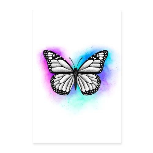 Butterfly Dotwork colorful on white - Poster 60x90 cm