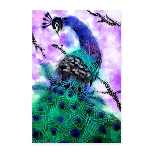 watercolour peacock - Poster 16 x 24 (40x60 cm)