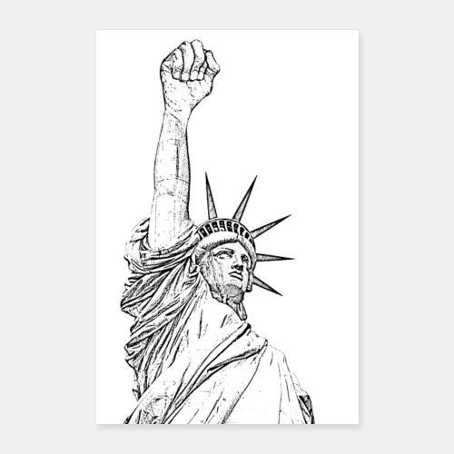 Statue of Liberty, fist held high - Póster 40x60 cm