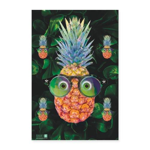 05 Ananas mit Sonnenbrille Poster Margarita Art - Poster 40x60 cm