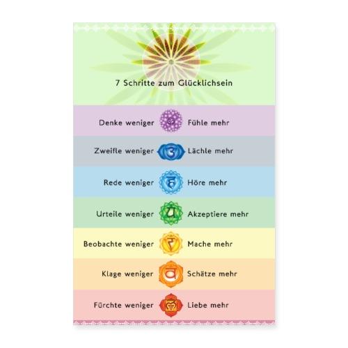 7 Schritte zum Glücklichsein Übungsanleitung - Poster 40x60 cm