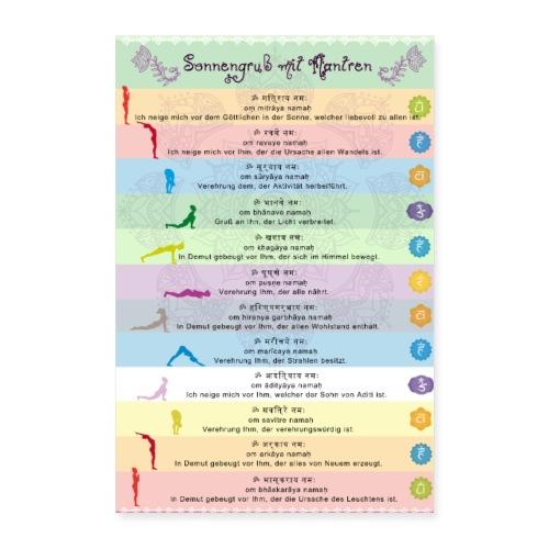 Yoga Sonnengruss mit Mantren Yogapraxis am Morgen - Poster 40x60 cm