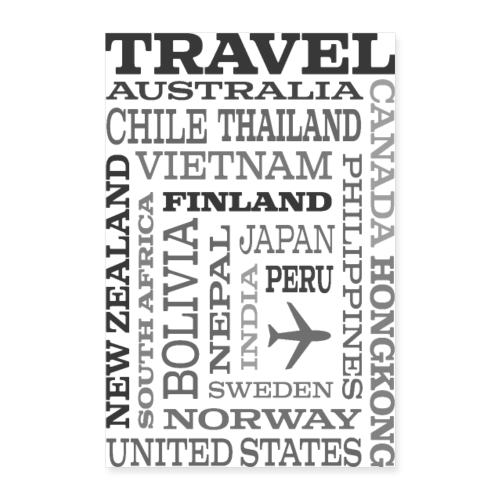 Travel Places Gray design - Juliste 40x60 cm