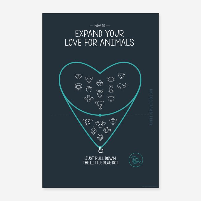 """Poster """"Expand your love for animals"""" (blau)"""