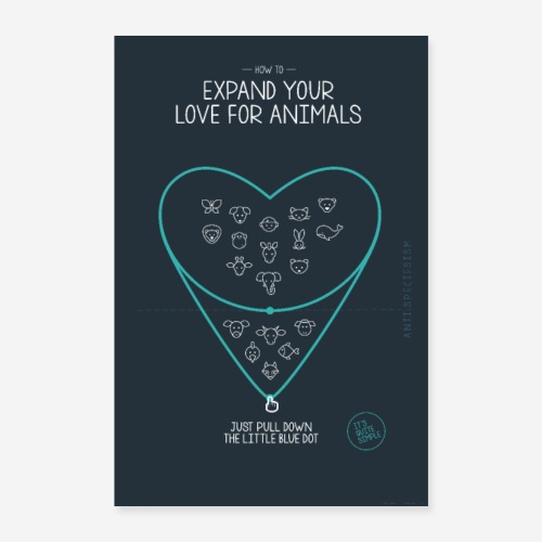 Poster Expand your love for animals (blau) - Poster 40x60 cm