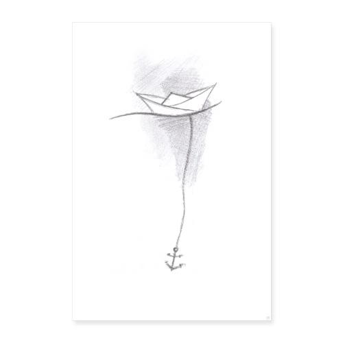 Papierschiff Skizze - Poster 40x60 cm