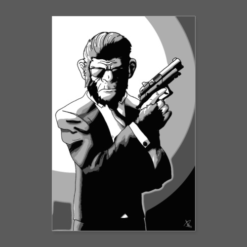Affe Mit Waffe POSTER - Poster 40x60 cm