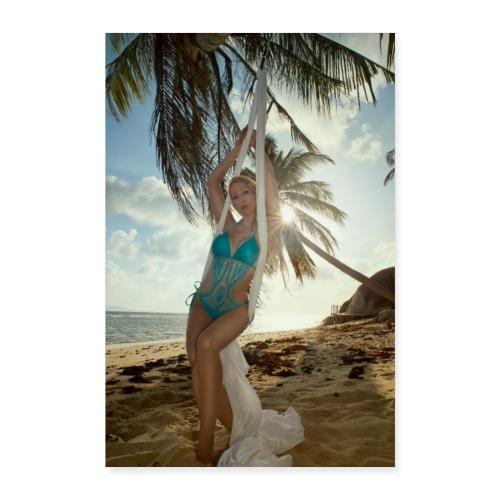 Girl With White Silks at an Abandon Beach - Poster 40x60 cm