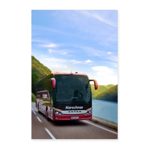 Reisebus Poster - Poster 40x60 cm
